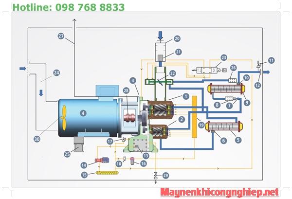 Cấu tạo máy nén khí trục vít không dầu